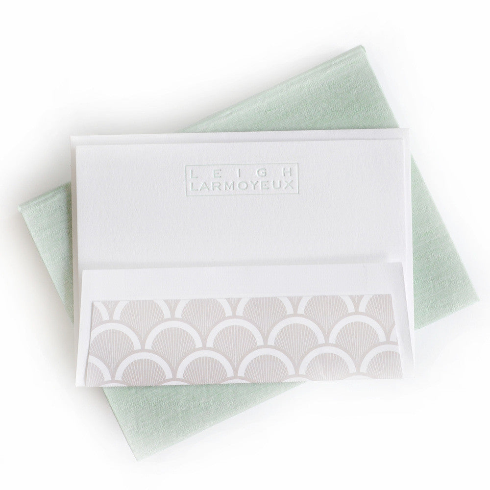 Petite Silk Stationery Box - Seafoam