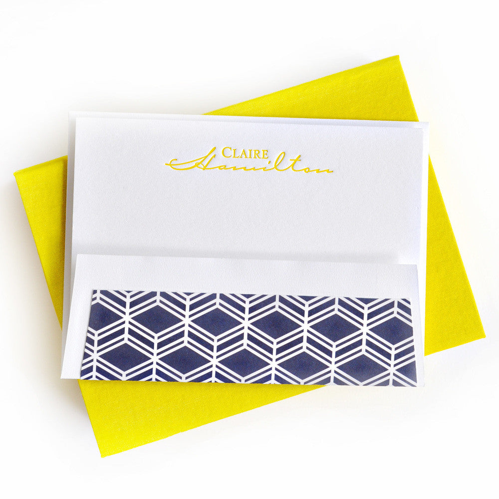 Petite Silk Stationery Box - Yellow