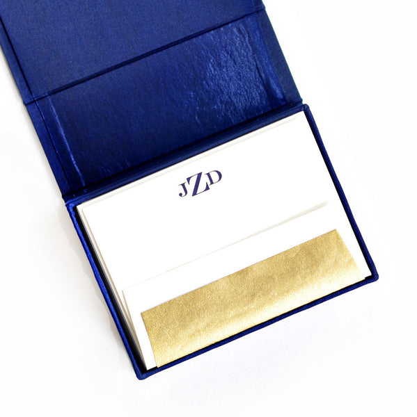 Petite Silk Stationery Box - Navy