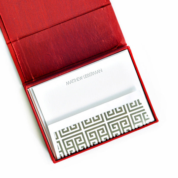 Petite Silk Stationery Box - Red