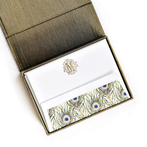 Petite Silk Stationery Box - Olive