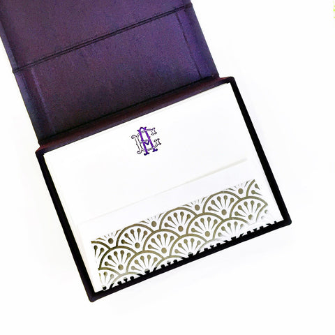 Petite Silk Stationery Box - Purple