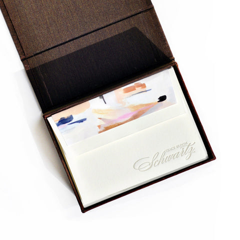 Petite Silk Stationery Box - Brown