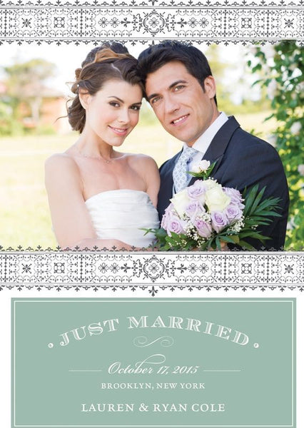 Just Married Intricate Border Wedding Announcement