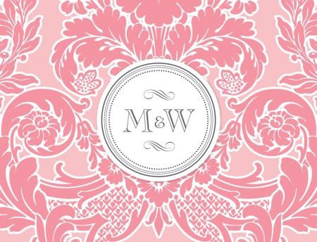 Pink Stamped Monogram - Bridal Stationery