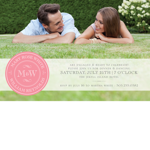 Pink Monogram Save the Date