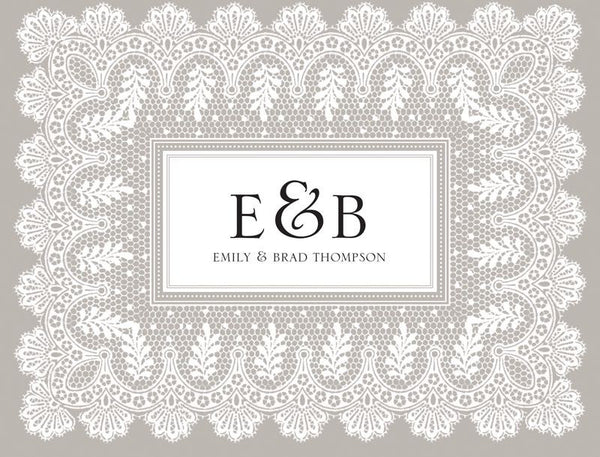 Platinum Lace Border - Bridal Stationery