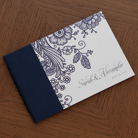 Personalized Guestbook Prussian Lace Navy