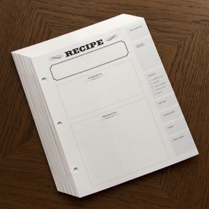 Recipe Journal Refill