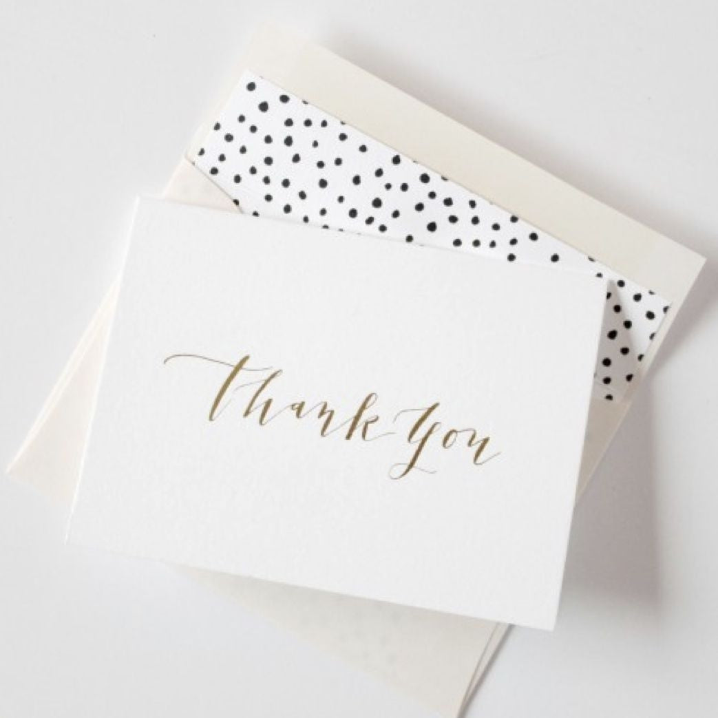 Gold foil thank you card set paper pearl Thank you in calligraphy writing