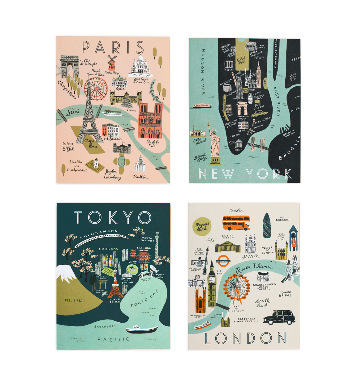 Rifle Paper Co. City Maps Boxed Note Cards
