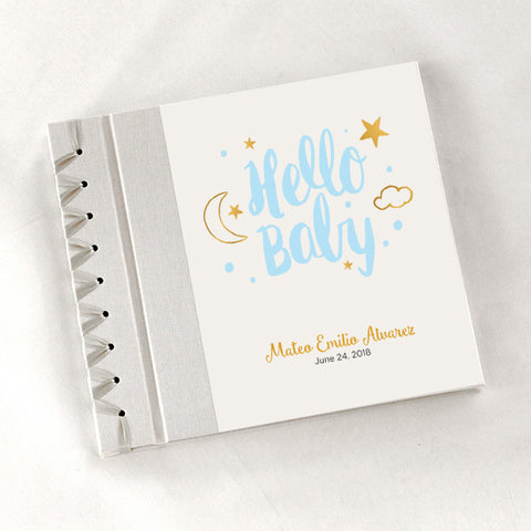 Personalized Baby's First Book Hello Baby - Blue