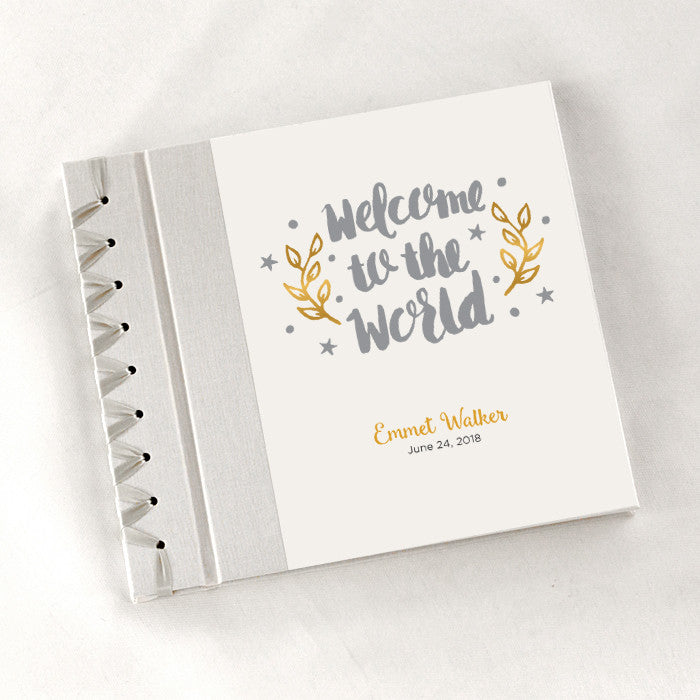 Personalized Baby's First Book Welcome to the World-Gray