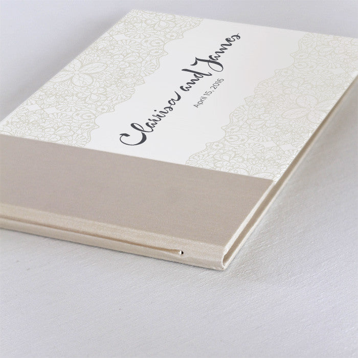 Personalized Guestbook Pearl Lace