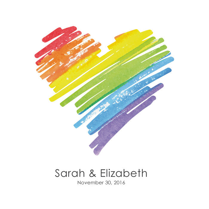 Personalized Guestbook Rainbow Heart