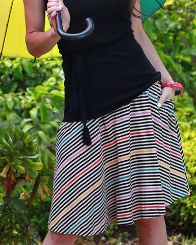 The Carnaby Skirt-Prismatic Stripe SAMPLE *Final Sale*