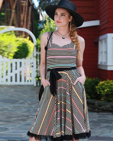 The Cinema Dress - Prismatic Stripe