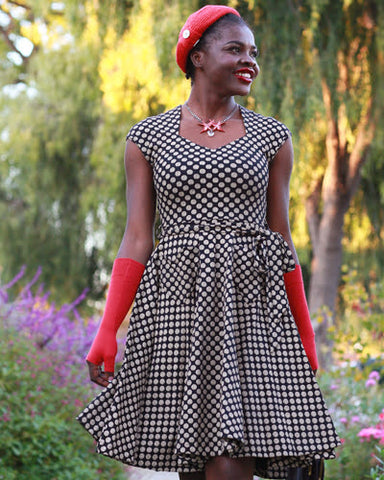 The Hedy Dress -Etched Dot Print EH539-303