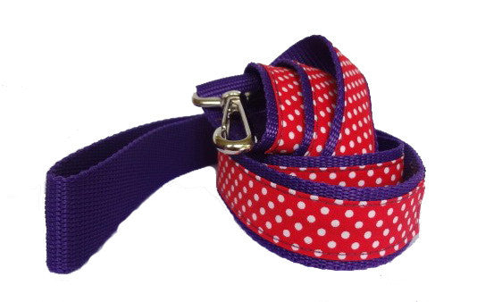 Red & White Polka Dot Dog Lead