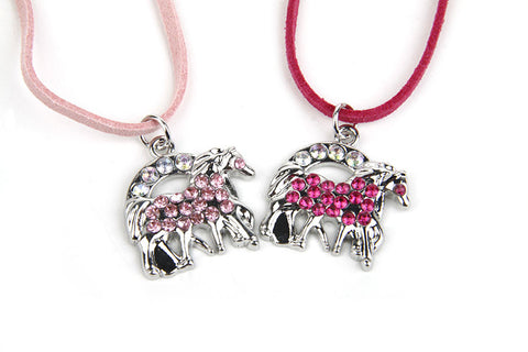 Crystal Horse Shoe & Horse Children's Necklace