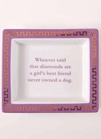 Whoever Said Diamonds... Pink Porcelain Desk Tray/Tidy