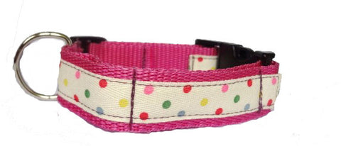 Multicoloured Polka Dot Dog Collar