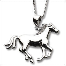 Carina Silver Large Galloping Horse Necklace