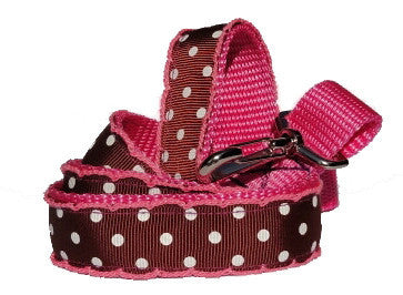 Brown & White Polka Dot Dog Lead