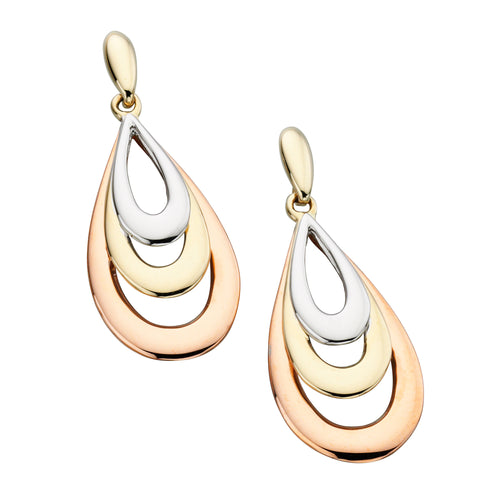 Gold Tri Colour Tear Drop Earrings from Carina Jewellery