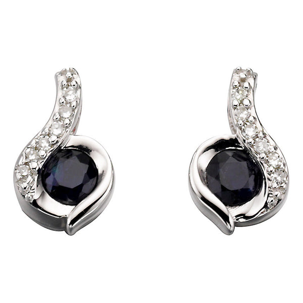 White Gold Diamond & Blue Sapphire Earrings from Carina Jewellery
