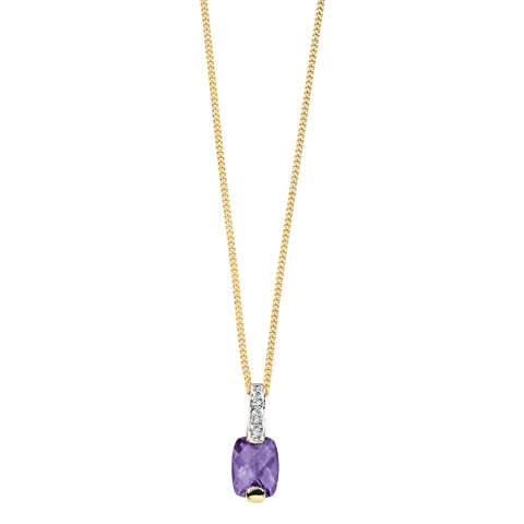 Gold Diamond & Amethyst Necklace from Carina Jewellery