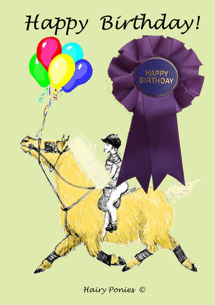 Hairy Ponies Happy Birthday Card Palomino HPC01P