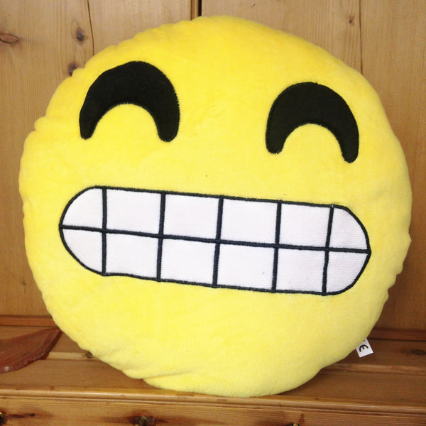 Grinning Teeth Face Emoji Cushion