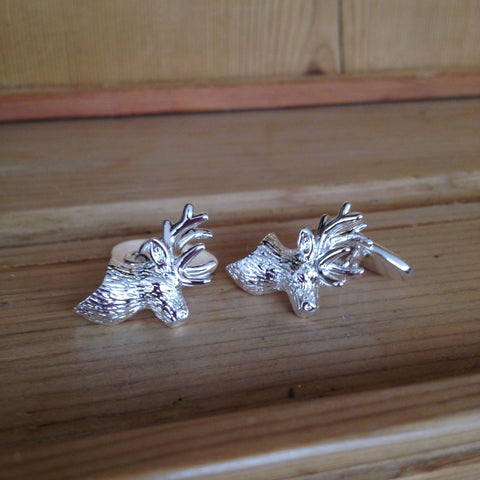 Silver Plated Stag Cufflinks