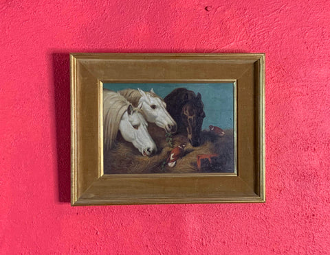Antique Horse Oil Painting