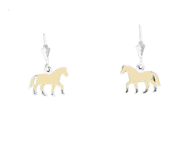 Carina Silver Hand Enamelled Pony Earrings JE25CREM