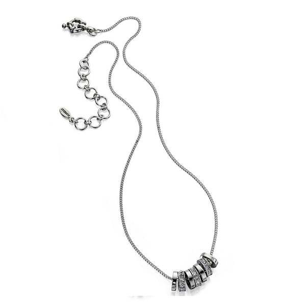 Fiorelli Silver Toned Necklace With Crystal Rings