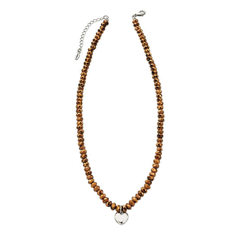 Gold Beaded Heart Necklace By Fiorelli