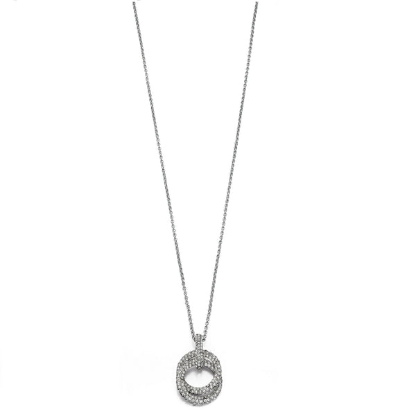 Fiorelli Silver Crystal Double Ring Necklace