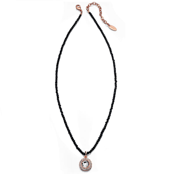 Black Beaded Pendant Necklace By Fiorelli
