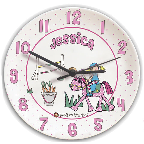 Bang on the Door Pony Girl Clock