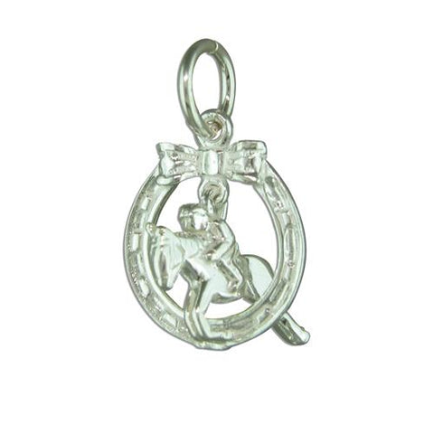 Carina Silver Horse Jumper & Horseshoe Lucky Charm JC10