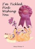 Hairy Ponies Tickled Pink Happy Birthday Card Chestnut HPC05C