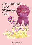 Hairy Ponies Tickled Pink Happy Birthday Card Palomino HPC05P