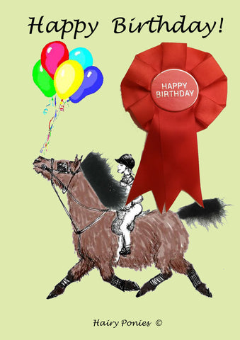 Hairy Ponies Happy Birthday Card Bay HPC01BY