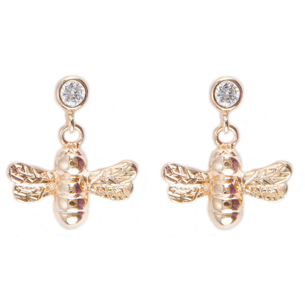 Gold Bumble Bee Earrings by Joma Jewellery