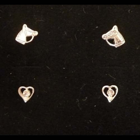Carina Silver Pony & Heart Earrings Set JE23
