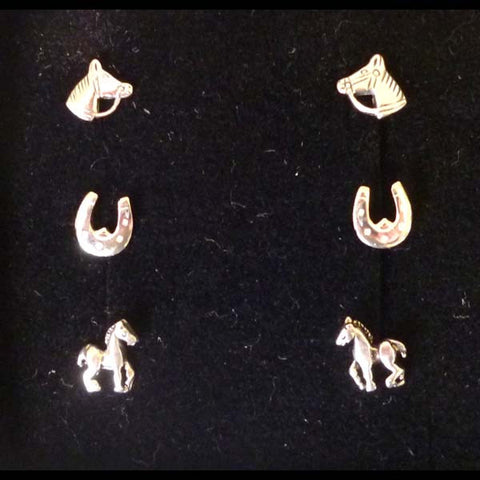 Carina Silver Horse Trio Earrings JE29