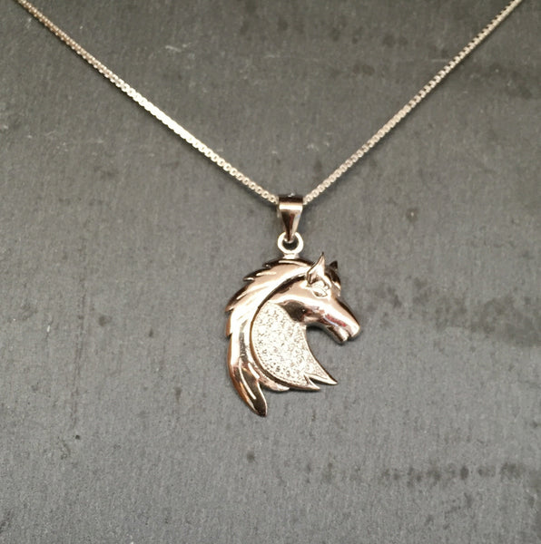 Carina Silver & CZ Pave Horse Head Necklace JN03