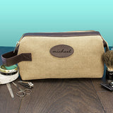 Men's Personalised Expandable Textured Canvas Wash Bag